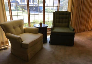 Vintage armchairs with hardwood frames