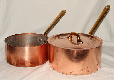 lot 2 WILLIAMS SONOMA COPPER COOKING POTS PANS 1 Lid Professional style HEAVY