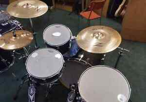 Reduced volume drum sets, heads and cymbals. Cymbal prices here.