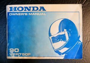 """ Original 1990 Honda VFR 750-F Owners Manual "" New Price."