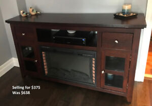 56 Inch Media Electric Indoor Fireplace - Dark Walnut