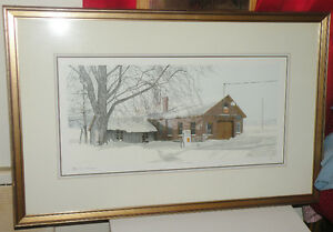 Lovely signed winter scene Esso gas tank picture