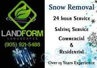 Snow removal by landform landscaping