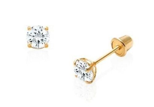 Genuine Baby Diamond Stud Screw Back Earrings in 10k Solid Yellow gold