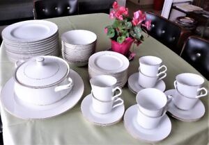 Dinnerware set 12 pc. TIFFANY White China with gold rim
