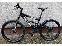 BLACK SARACEN FULL SUSPENSION BIKE - FRONT AND REAR DISCS - 24 GEARS- MOUNTAIN BIKE