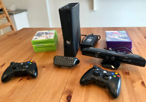 XBOX 360 Bundle: console, Kinect, controllers, keyboard, Games
