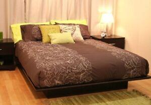 full size platform bed frame no box spring needed use w mattress 4 colors new ebay. Black Bedroom Furniture Sets. Home Design Ideas