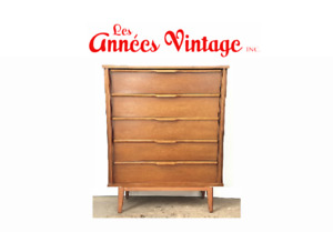 Commode Vintage Noyer Wlanut Dresser 1960