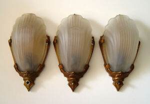 3 Antique Lighting Deco Wall Sconces with Clam Shell Slip Shades