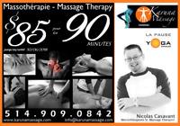 PROMO massothérapie prof. 90 minutes $85! Prof. Massage Therapy