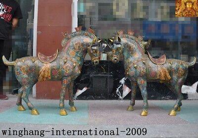 "36""China Feng shuibronze Cloisonne enamel Gilt lucky Zodiac animal horse statue"