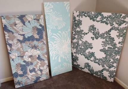 3x large vintage fabric canvas wall hanging art pinboard