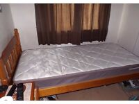 3ft SINGLE SOLID PINE BED WITH 3ft CLOUD NINE MATTRESS..MATTRESS IS LESS THAN 4 MONTHS OLD