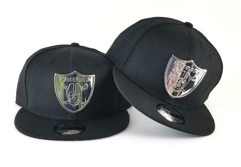 New Era Oakland Raiders Silver Metal Logo 9Fifty Snapback Hat Black ... a56f86812fd