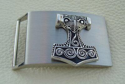 Schonhammer Thors Hammer Massive Gürtelschnalle Neu poliert 4 cm Gürtel Buckle