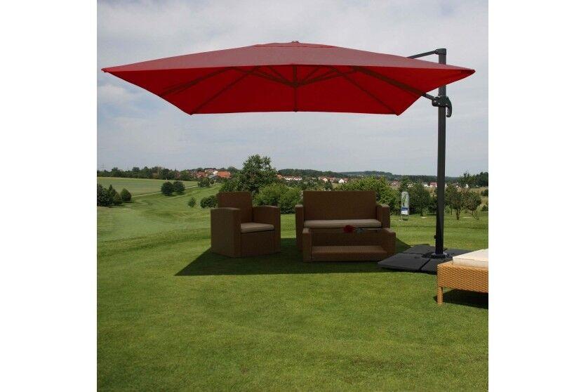 3x4 m Design Sonnenschirm Ampelschirm Gartenschirm 3m 4m Gastronomie MIT FLAP BORDEAUX