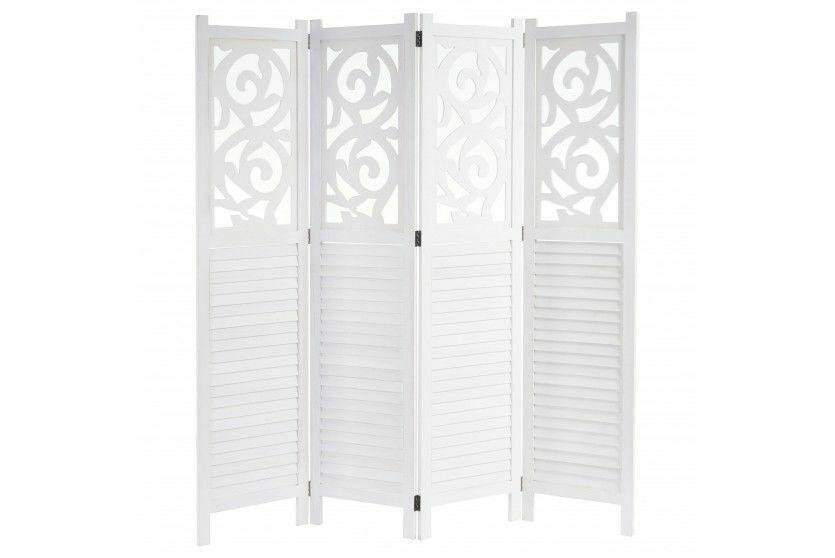 Paravent weiß 170x160 Trennwand Raumteiler Raumtrenner Paravant Holz Ornamente
