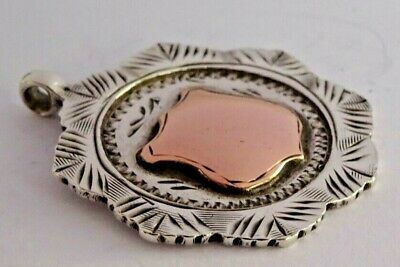Superb antique solid silver & rose gold pocket watch albert chain fob, 1919