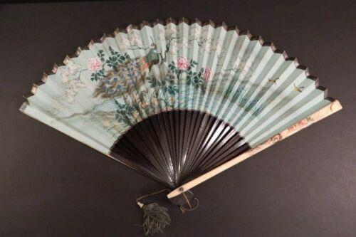 Antique Hand Fan Bamboo Paper & Bone Facher Eventail Ventaglio Japan 1880