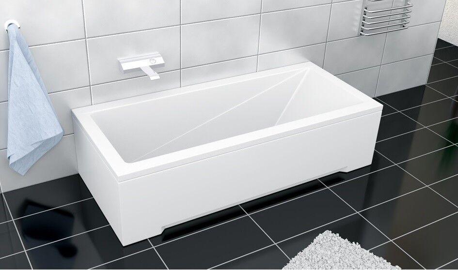 Badewanne Rechteck Wanne 120 130 140 150 160 170 x 70 cm ohne/mit Schürze Ablauf