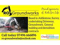 DRIVEWAYS, GROUNDWORKS, DEMOLOTION, DIGGER AND DRIVER HIRE