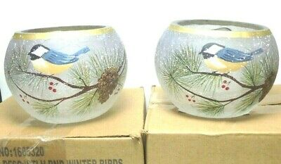 Yankee Candle 2x WINTER BIRDS Round Crackle Glass Votive Holders