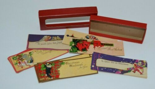 Early Century Embossed Card Stock Christmas Gift Tags 16 Assorted Designs In Box