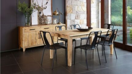 Pine wood dinning table with industrial metal legs from garnet Norman