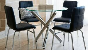Trion 5 Piece Dining Setting Glass Tabletop with Chrome Accents Sydney City Inner Sydney Preview
