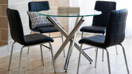 Trion 5 Piece Dining Setting Glass Tabletop with Chrome Accents