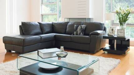 Coco Black Leather Corner Lounge with Chaise Ballina Ballina Area Preview