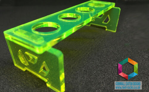Reef+Rack+-+Acid+Green+Acrylic+Fragf+Rack+Holds+4+Plugs+SPS+LPS+Frags+Soft+Coral