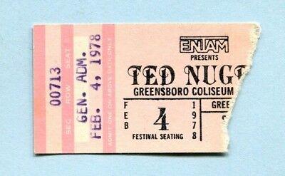 1978 Ted Nugent Golden Earring Sammy Hagar Concert Ticket Stub Greensboro NC