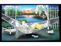 """VIETNAMESE / CHINESE LACQUER & MOTHER OF PEARL PAINTING TITLED """"MOTHERLY LOVE"""""""