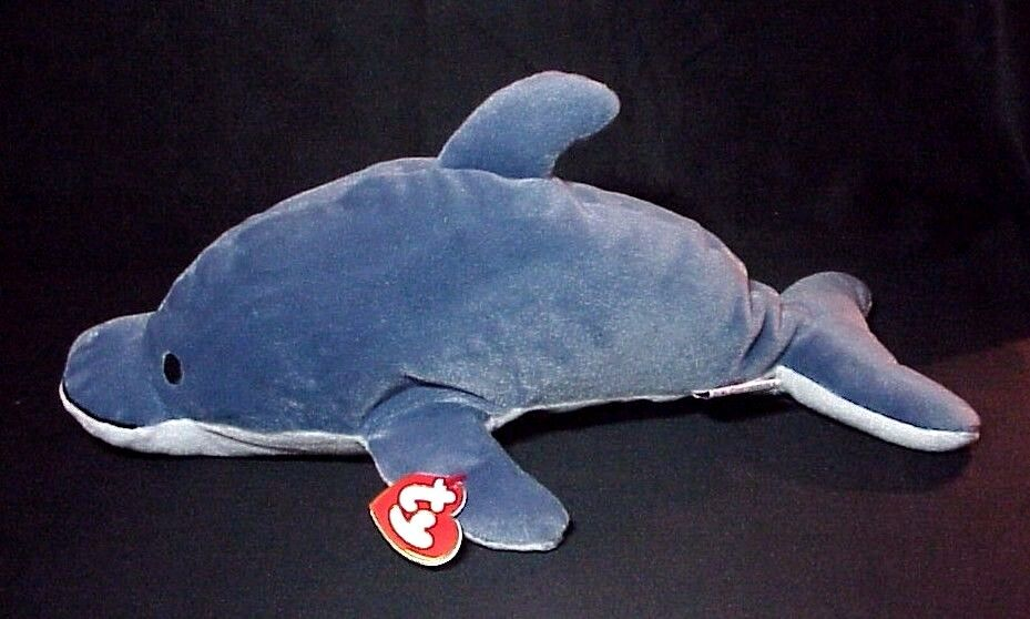 1997 GLIDE THE DOLPHIN TY PILLOW PAL BEANIE GRAY & WHITE CHINA PLUSH WITH TAGS