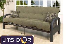 Vente de futon base en métal et matelas 10''.  Pour seulement 279$