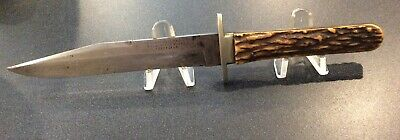ANTIQUE BOWIE KNIFE IXL MARKED G. WOSTENHOLM & SON WITH SCABBARD PRE 1890
