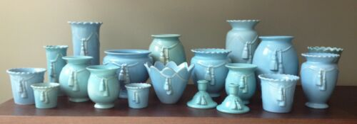 Weller Pottery Collection, Darsie Pattern Cord & Tassel Blue Vases 20 total