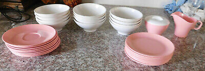 31 Boontonware Bowls Plates Sugar Creamer Pink & White Melamine Melmac