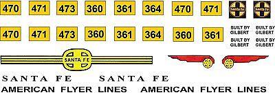 American Flyer Alco Santa Fe diesel decal set 470, 360