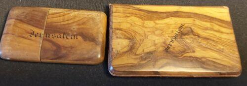2 olive wood Jerusalem card cases. Good condition, ca 1920
