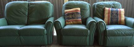 Leather green lounge set Plumpton Blacktown Area Preview