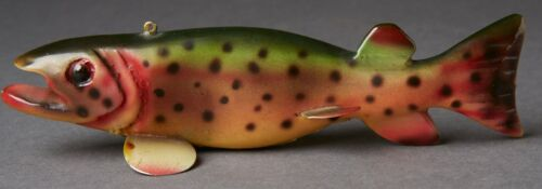 MAGNIFICENT VINTAGE MICHIGAN BUD STEWART TROUT ICE FISH SPEARING DECOY