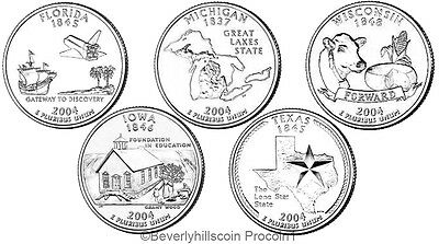 2004 State Quarters Philadelphia Denver 10 coin Uncirculated for sale  Shipping to Canada