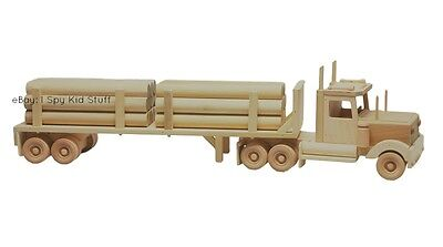 Wooden Toy Truck - Handmade Amish Wooden Toy Logging Truck - Tractor Trailer and Semi Truck SET