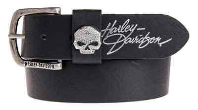 Harley-Davidson Women/'s Set In Stone Studded Leather Belt Black HDWBT11698
