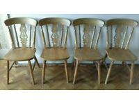 Solid wood fiddle back pine or beech kitchen dining chairs x 4
