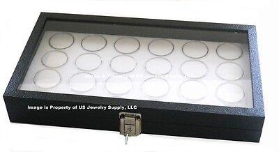 Key Lock Glass Lid Casino Chip 40mm Under White Display Storage Box Case