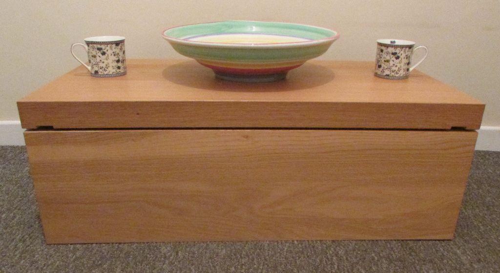 Ikea Modern Blanket Box Storage Toy Box Sliding Top Coffee Table